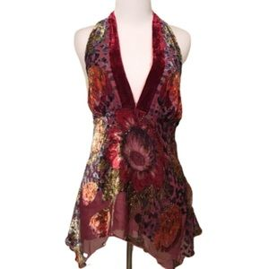 Hale Bob Burgundy Velour Embellished Halter Top S